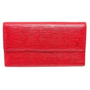 Louis Vuitton Red Epi Leather Porte Tresor Wallet